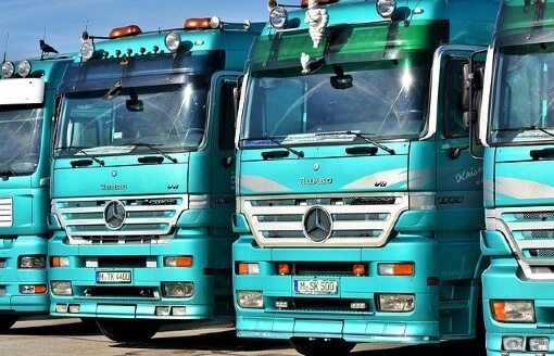 row of trucks